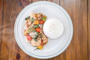 Thai fried stir chicken with black pepper