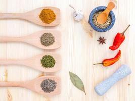 Top view of seasoning in spoons photo
