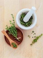 Fresh and dried thyme photo