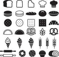 conjunto de iconos de tortas de panadería. ilustración vectorial. vector