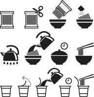 Instant noodles icons set. Vector illustrations.