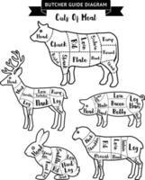 carnicero guía cortes de diagrama de carne. ilustraciones vectoriales. vector