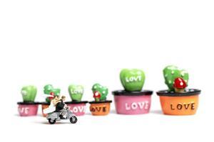 Miniature couple riding a motorcycle next to miniature succulent plants, Valentine's Day concept photo