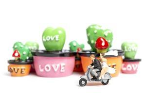 Miniature couple riding a motorcycle next to miniature succulent plants, Valentine's Day concept