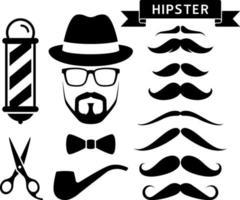 Hipster barber salon elements. Vector illustrations.