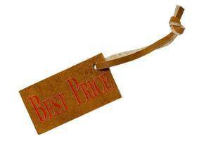 Etiqueta de precio de cuero aislado sobre un fondo blanco. foto