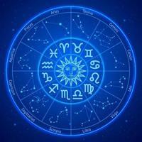círculo de signos de estrella del zodíaco astrología. ilustraciones vectoriales.