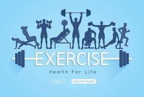 ejercicios de diseño conceptual. jóvenes haciendo ejercicios de silueta. ilustraciones vectoriales de promoción de banner de fitness deportivo.
