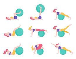 Ilustraciones vectoriales de postura de entrenamiento de pelota de ejercicio de fitness para mujeres.