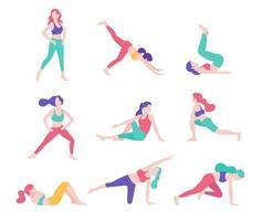 ilustraciones de vectores de postura de ejercicio de fitness de mujeres.