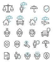 Insurance set line icons. vector