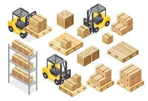 Forklift cargo truck delivery illustration equipment isometric vector illustration.