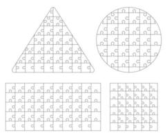 Jigsaw puzzle template. Vector illustrations.