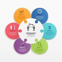 Jigsaw puzzle infographics circle template. Vector illustrations.