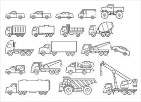 Truck icons set. Vector illustrations.