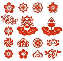 Chinese flowers paper cut red color vector illustrations.