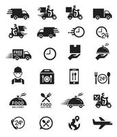 Food delivery icons. Vector illustrations.