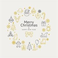 Christmas wreath icons and happy new year. Vector illustrations.