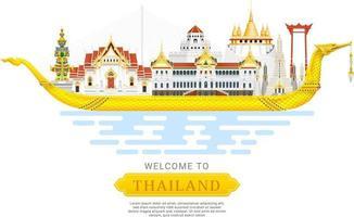 Ilustración de vector de fondo de viaje histórico de Tailandia