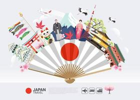 Japan famous landmarks on fan travel background vector