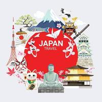 Japan famous landmarks travel background vector