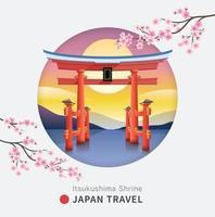 Floating torii shinto gate of Itsukushima shrine, Miyajima island of Hiroshima, Japan against the backdrop of the mountains at the sunset and sakura flower cherry blossom. Vector illustrations.