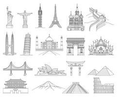 ilustraciones de vectores de estilo de dibujo de arte de doodle de viaje. monumentos famosos del mundo.