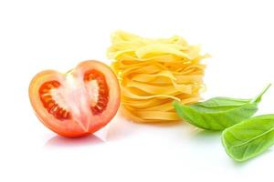 Tomato, pasta, and basil