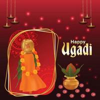 feliz celebración ugadi tarjeta de felicitación