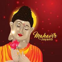 Creative background of mahavir jayanti background vector