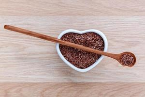 Bowl of flax seeds photo