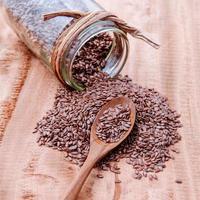 Jar of flax seeds photo