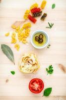 Fresh Italian food flat lay