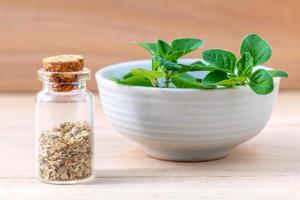 Bowl of fresh oregano with dried oregano photo
