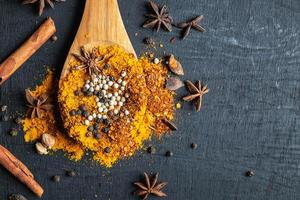 Colorful spices and powder on a wooden spoon on a black table background photo