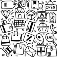 set of doodle element related to e commerce and online shopping vector
