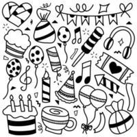 colección de iconos de fiesta dibujados a mano