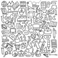 Funny Hand Drawn Set of School Icons vector