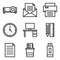 Office Materials Icon Set vector