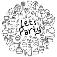 Hand Drawn Party Doodles vector