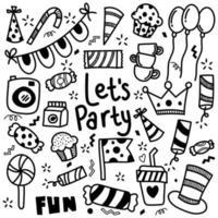 conjunto de fiesta doodle en fondo blanco