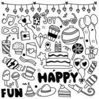 Ilustración de vector de doodle de fiesta de cumpleaños