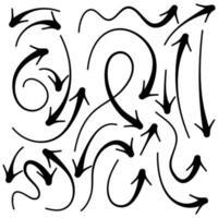 flecha de boceto dibujado a mano vector