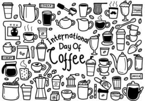 International Day of Coffee Doodles vector