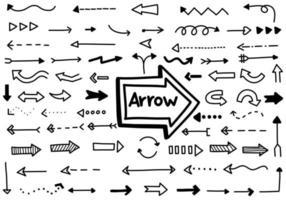 colección de flechas negras dibujadas a mano vector