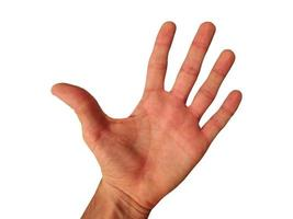 Image of left hand with flat palm and fingers straight photo