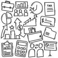 conjunto de doodle de negocios vector