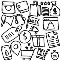 icono de doodle de compras en línea
