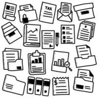 Doodle conjunto de archivos y documentos vector