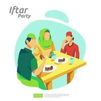 Cena familiar musulmana en Ramadán Kareem o celebrando el Eid con carácter de personas. iftar comiendo después del ayuno fiesta concepto de fiesta. plantilla de página de destino web, banner, presentación, medios sociales o impresos